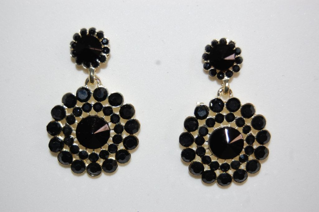 Earrings black dynasty and gold