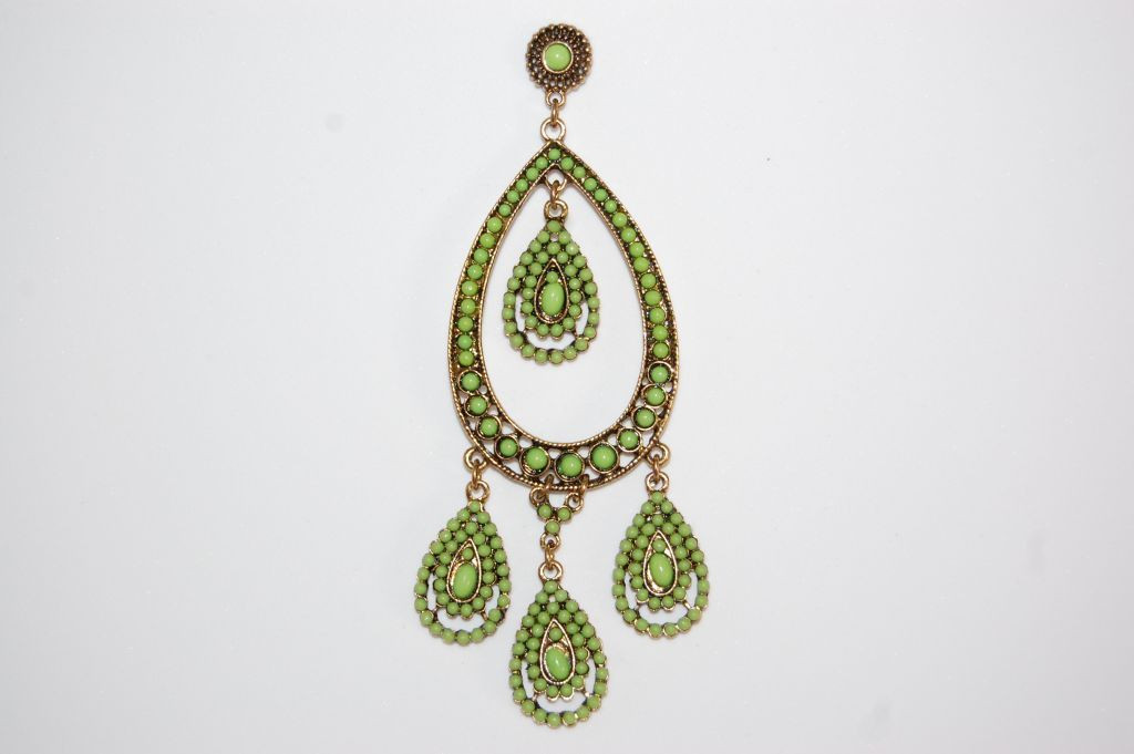 Earrings thousand tears pistachio and gold