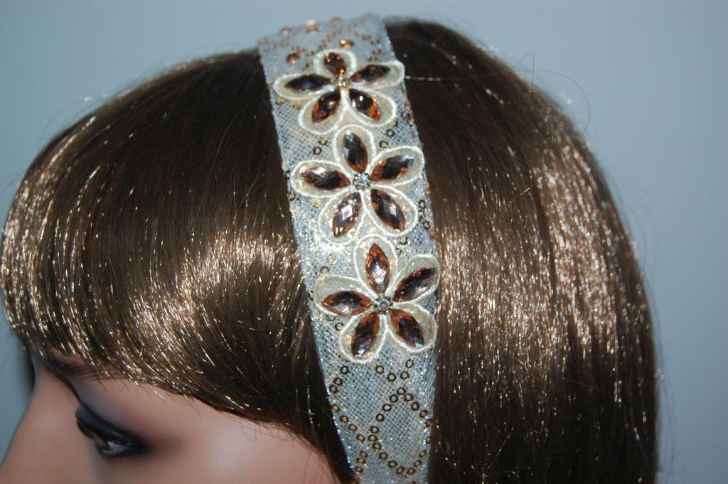 Athena headband ivory flower glitters