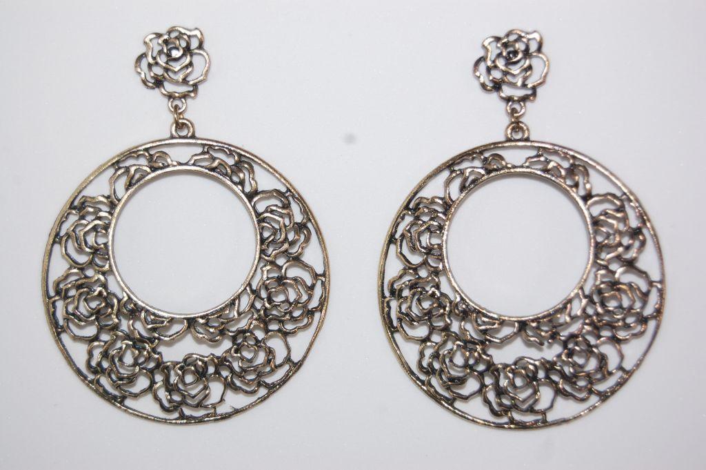 Open roses earrings gold