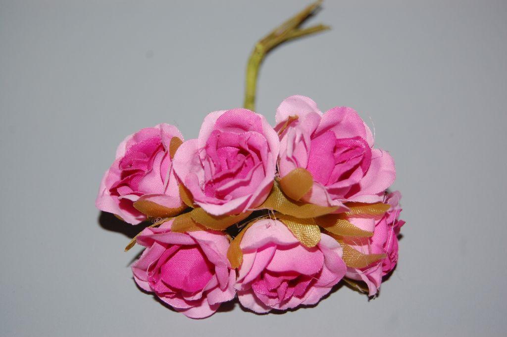 Conjunto 6 flores color rosa