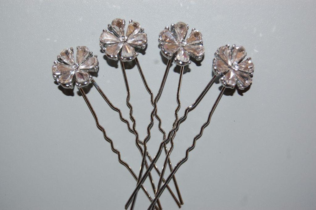 Set 4 glass flower hairpins