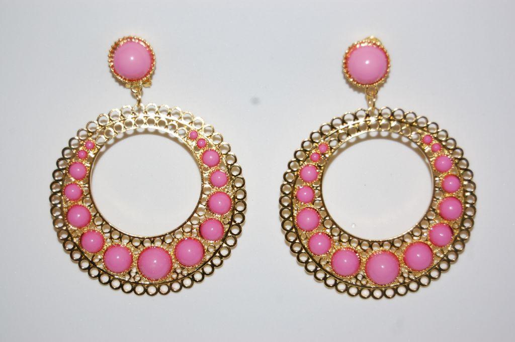 Tamboril pink earrings and gold