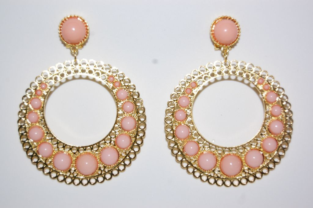 Tamboril earrings gold and pink nude