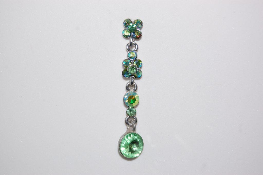 Long green crystal earrings