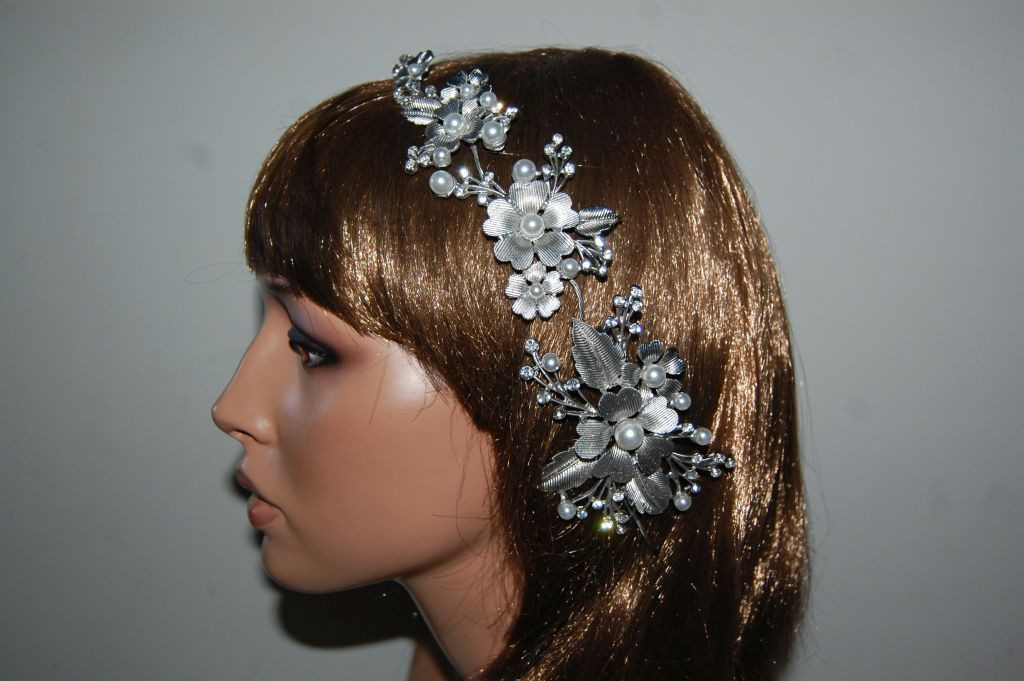Tiara thousand flowers silver and pearls