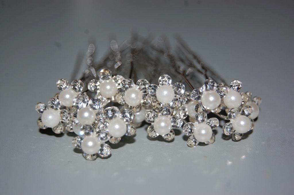 Conjunto 4 horquillas flor y perla