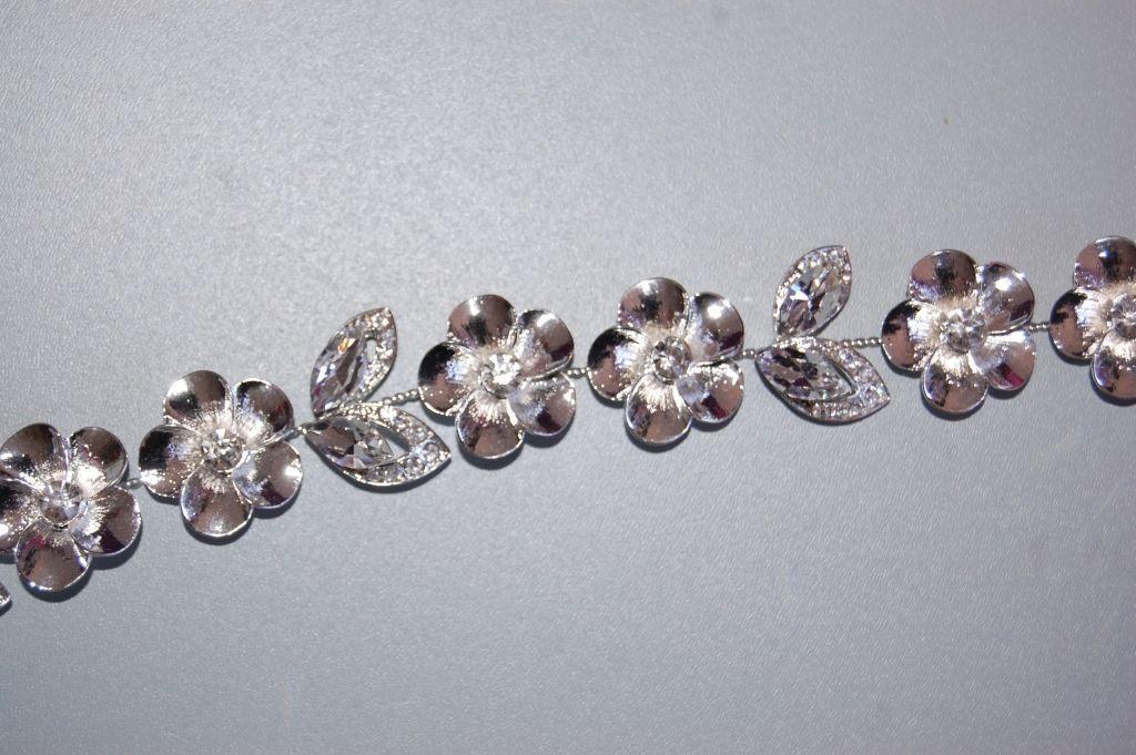 Beautiful flowers silver tiara