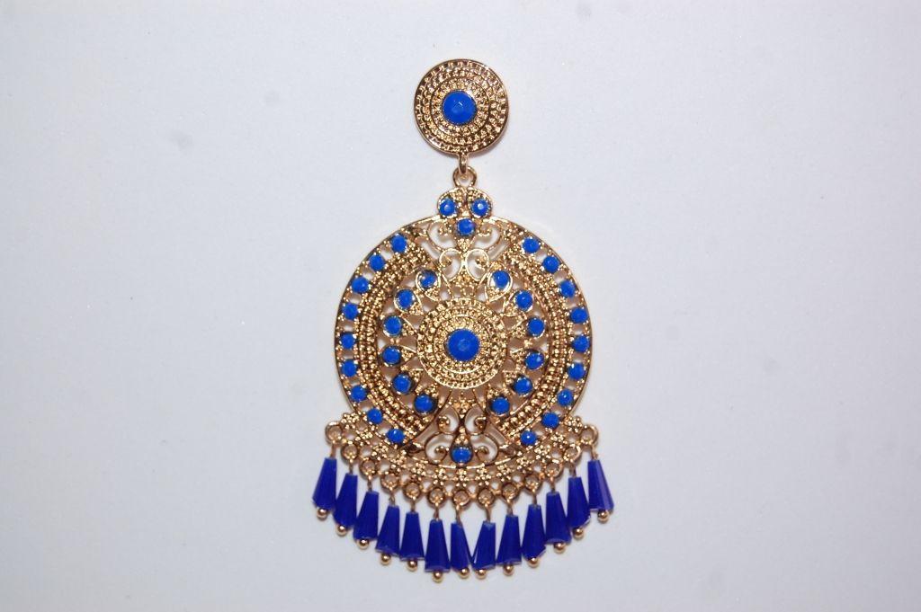 Blue Gold hoop earrings