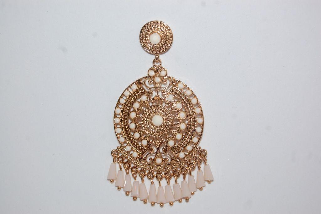 Hoop earrings gold beige
