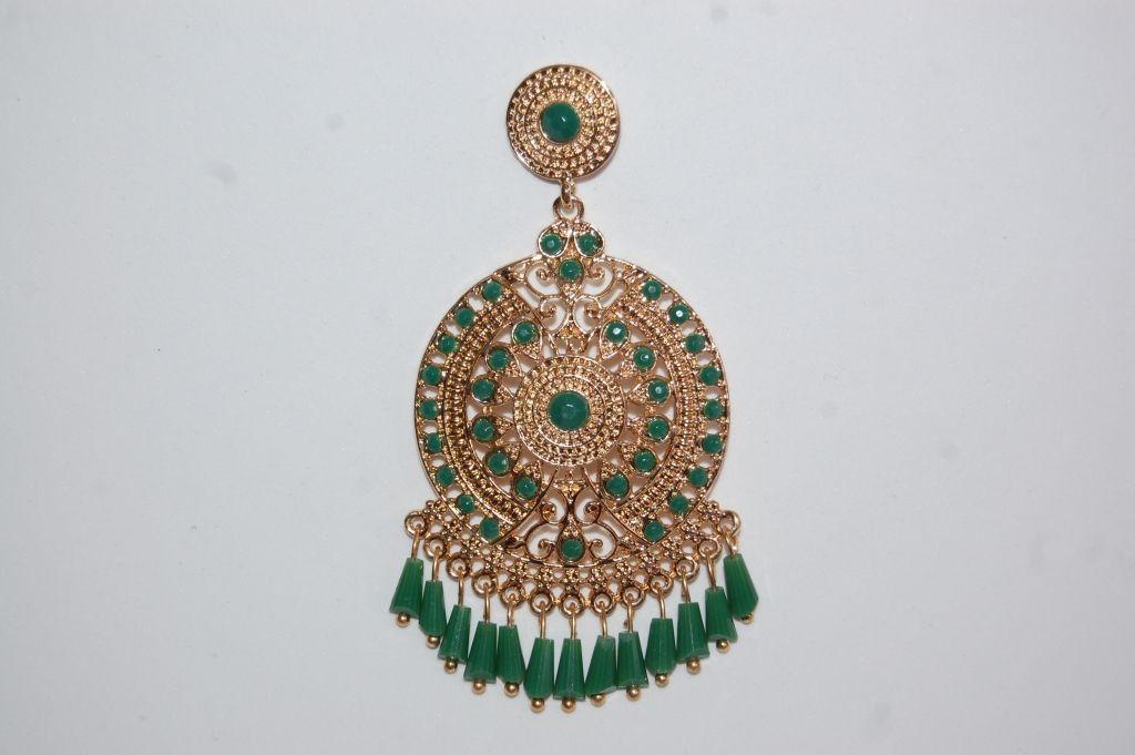 Earrings hoops Gold Green
