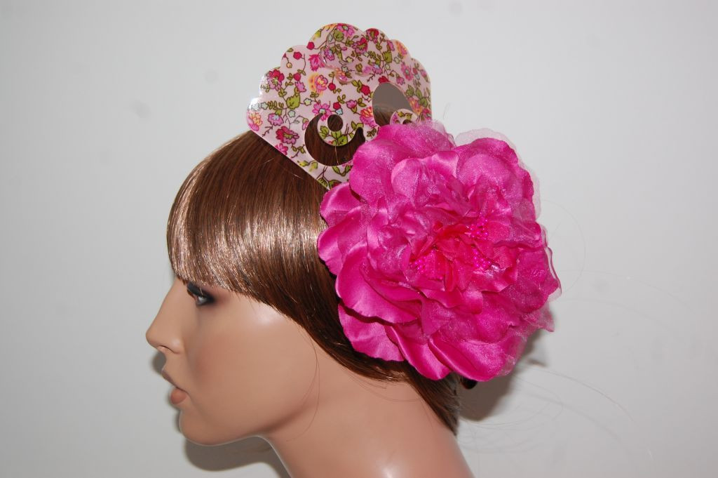 Peina floral rosa y fuscia