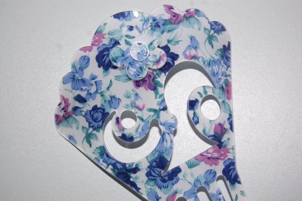 Peina floral azul y verde agua