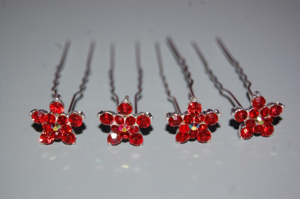 Conjunto 4 horquillas rojo estrella
