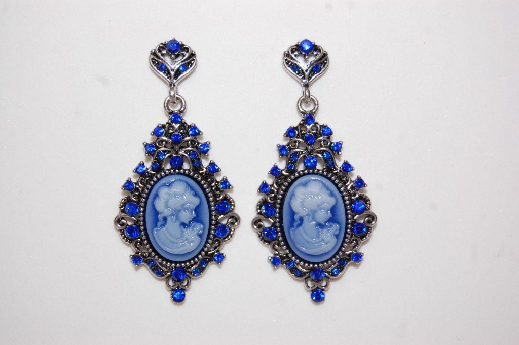 Pendientes Camafeos flamenca azul