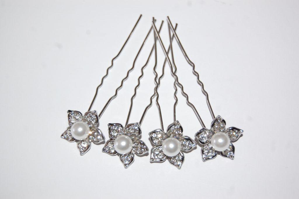 Conjunto 4 horquillas flor gran perla