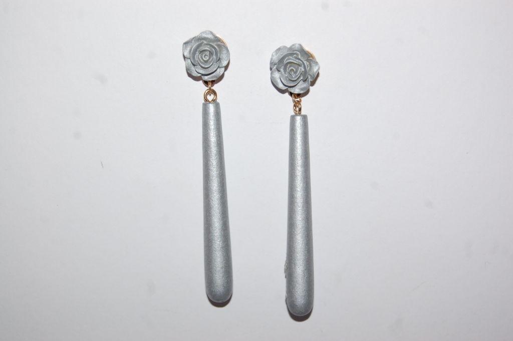 Pendientes flor feria plata