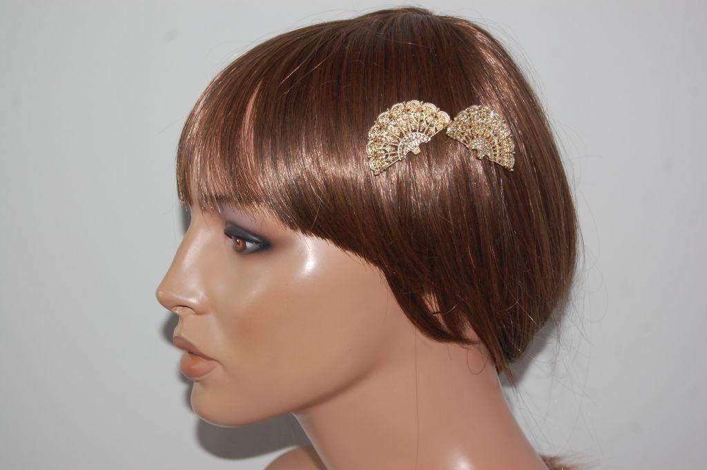 Conjunto peinas bello abanico oro