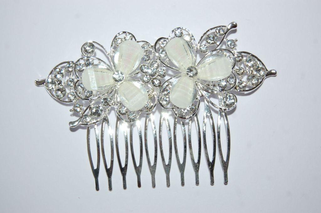 Peina dos flores cristal blanco