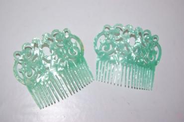 Conjunto 2 peines gitanilla verde agua