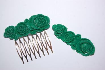 Conjunto bella peina y broche verde