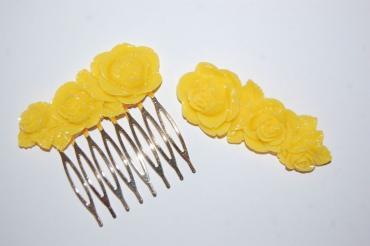 Conjunto bella peina y broche dorado
