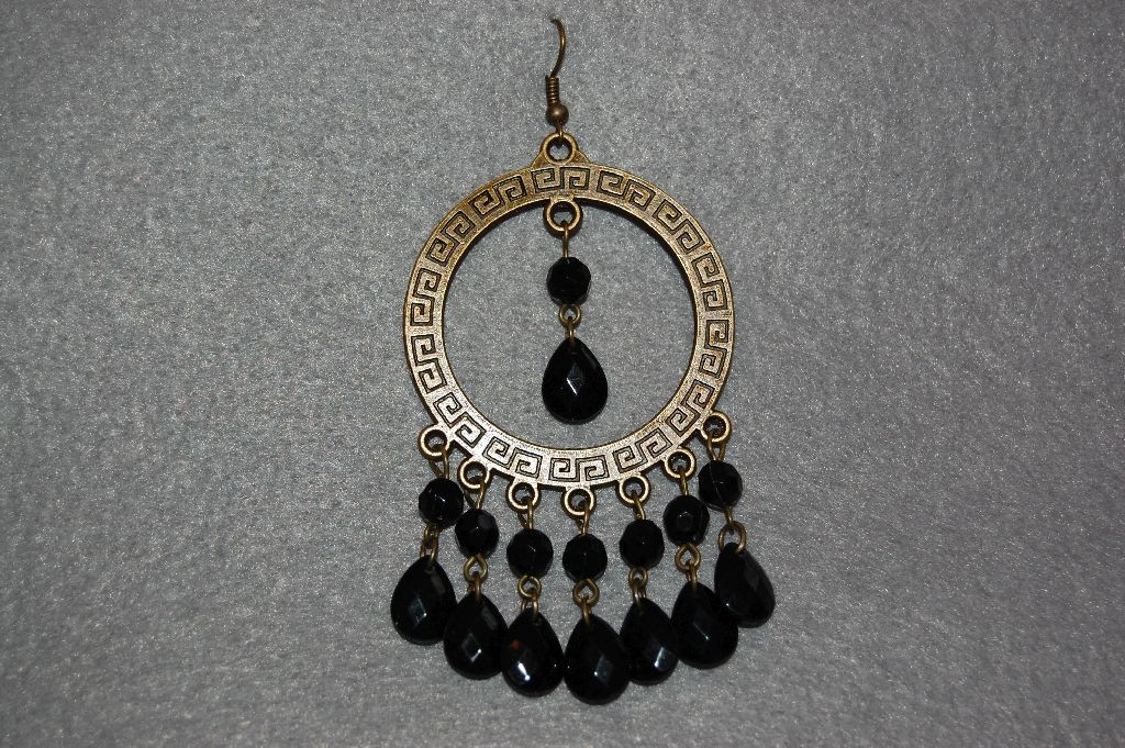 Earrings Black Roman ring