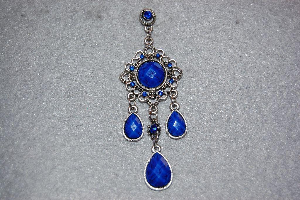 Round blue stone earrings