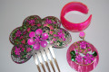 Set comb metal with Fuchsia flowers