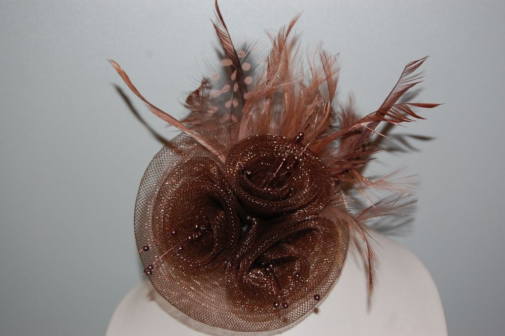 Headdress Hat bright Brown and black feathers