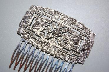 Comb large rectangle old silver