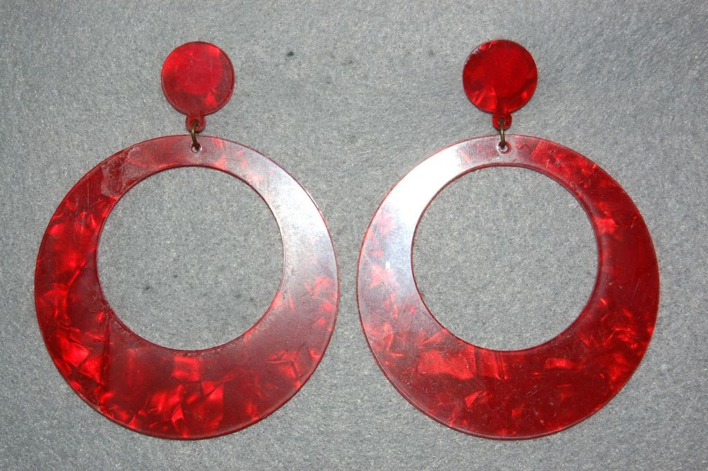 Earrings hoop red Seville