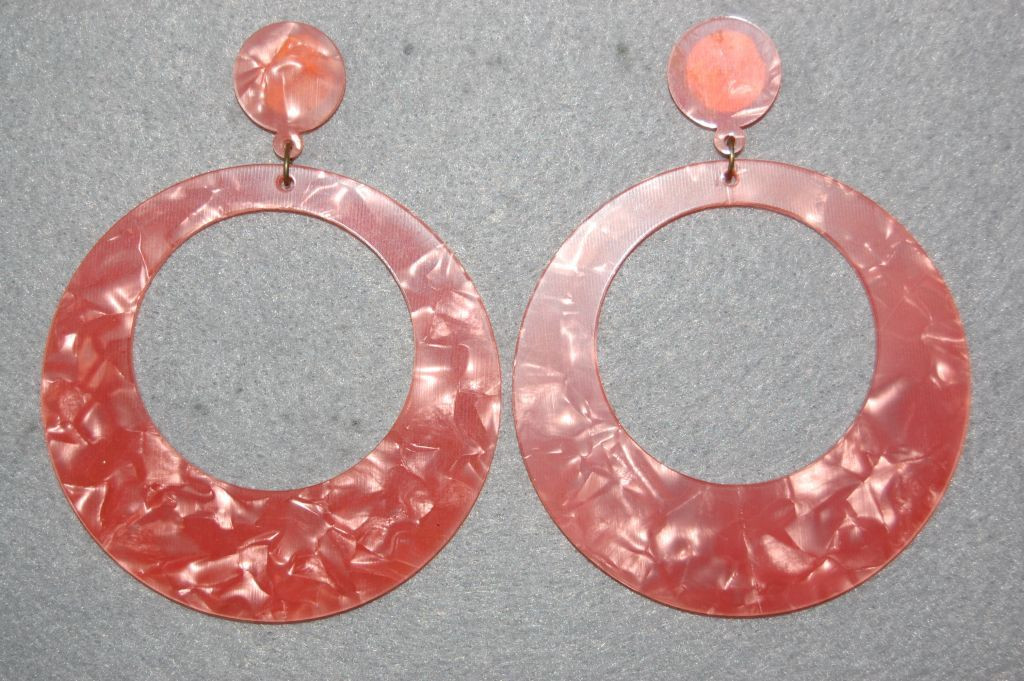 Earrings ring pink coral Seville