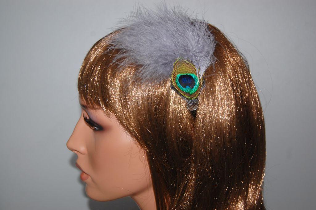 Royal headband feathers silver