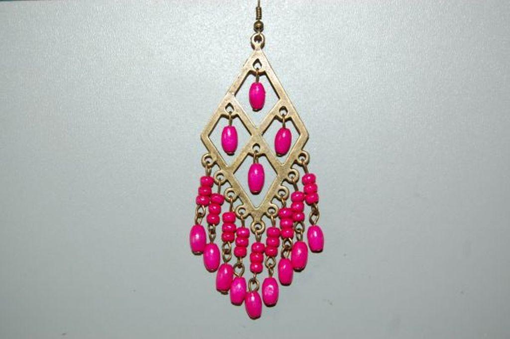 Earrings diamond wood Fuchsia
