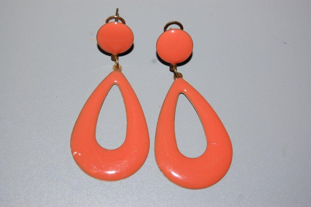 Earring Teardrop of Orange metal