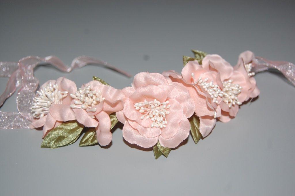 Six flower tiara salmon-coral